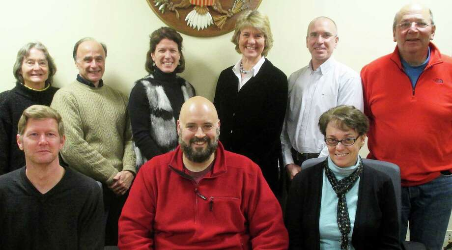Members of the town's new Bicycle & Pedestrian Committee include, seated from left, are Edward F. Lane, secretary; Keith Gallinelli, chairman, and Laura L. O'Brien, vice chairwoman; standing from left, Elizabeth B. Gardner, Dr. Robert Tota, Karen Secrist, Linda A. Lach, William Pollack and Donald Hyman. Photo: Contributed Photo / Fairfield Citizen