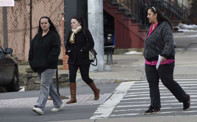 Christine Van Alstyne White, left, and Brenda Van Alstyne, right, arrive at Albany County Family Court for a hearing on Jan. 21, 2015. (Skip Dickstein/Times Union)