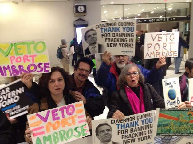 Opponents of hydrofracking rally in Albany before Gov. Andrew Cuomo delivered his State of the State address on Wednesday, Jan. 21, 2015. (John Carl D'Annibale / Times Union)