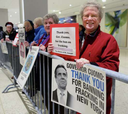 Sister Charla Whipple of Latham joins a celebratory rally thanking Gov. Andrew Cuomo for banning fracking outside State of the State address and budget proposal at Empire State Plaza Convention Center Wednesday January 21, 2015 in Albany, NY.   (John Carl D'Annibale / Times Union) Photo: John Carl D'Annibale / 00030240B