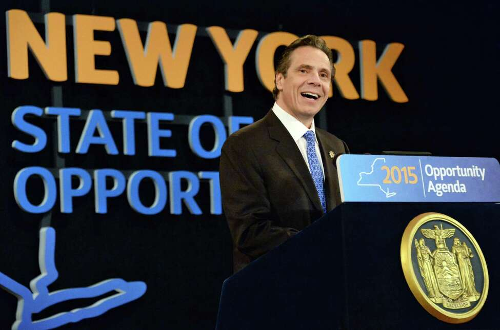 NYS Gov. Andrew Cuomo delivers his State of the State address and budget proposal at the Empire State Plaza Convention Center Wednesday January 21, 2015 in Albany, NY. (John Carl D'Annibale / Times Union)