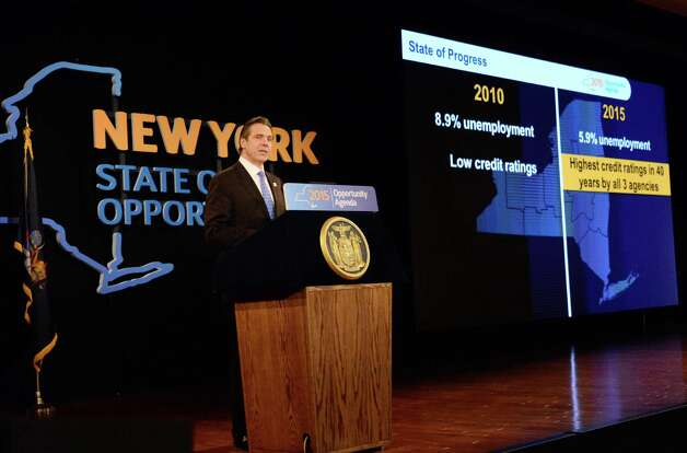 NYS Gov. Andrew Cuomo delivers his State of the State address and budget proposal at the Empire State Plaza Convention Center Wednesday January 21, 2015 in Albany, NY.   (John Carl D'Annibale / Times Union) Photo: John Carl D'Annibale / 00030240B