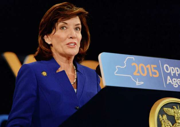 NYS Lt. Gov. Kathy Hochul speaks during the State of the State address and budget proposal at the Empire State Plaza Convention Center Wednesday January 21, 2015 in Albany, NY.   (John Carl D'Annibale / Times Union) Photo: John Carl D'Annibale / 00030240B