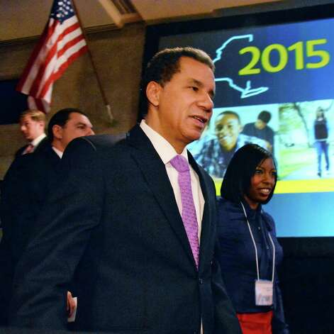 Former Gov. David Paterson arrives for the State of the State address and budget proposal Wednesday January 21, 2015, at the Empire State Plaza Convention Center in Albany, NY.   (John Carl D'Annibale / Times Union) Photo: John Carl D'Annibale / 00030240B