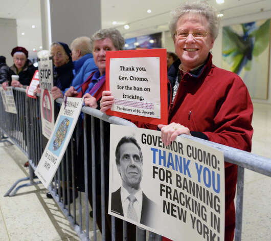 Sister Charla Whipple of Latham joins a celebratory rally thanking Gov. Andrew Cuomo for banning Fracking outside State of the State address and budget proposal at Empire State Plaza Convention Center Wednesday January 21, 2015 in Albany, NY.   (John Carl D'Annibale / Times Union) Photo: John Carl D'Annibale, Albany Times Union / 00030240B