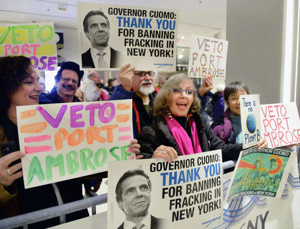 Demonstrators hold a celebratory rally outside Gov. Andrew Cuomo's State of the State address and budget proposal at Empire State Plaza Convention Center Wednesday January 21, 2015 in Albany, NY.   (John Carl D'Annibale / Times Union) Photo: John Carl D'Annibale, Albany Times Union / 00030240B