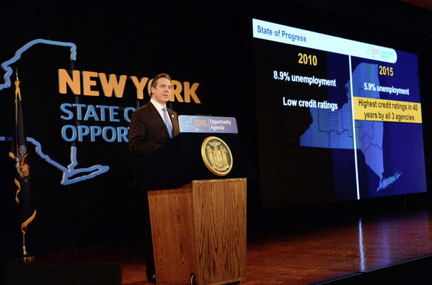 NYS Gov. Andrew Cuomo delivers his State of the State address and budget proposal at the Empire State Plaza Convention Center Wednesday January 21, 2015 in Albany, NY.   (John Carl D'Annibale / Times Union) Photo: John Carl D'Annibale, Albany Times Union / 00030240B