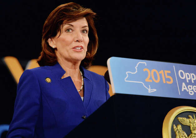 Lt. Gov. Kathy Hochul speaks during the State of the State address and budget proposal at the Empire State Plaza Convention Center Wednesday, January 21, 2015, in Albany, N.Y.   (John Carl D'Annibale / Times Union) Photo: John Carl D'Annibale, Albany Times Union / 00030240B
