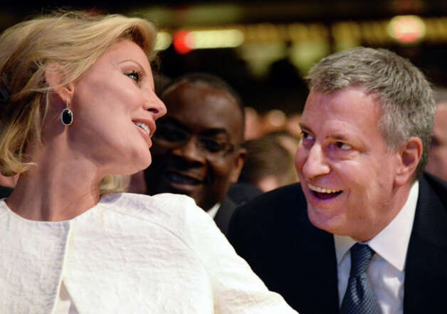 NYS Gov. Andrew Cuomo's girlfriend Sandra Lee, left, and NYC Mayor Bill de Blasio  chat before the start of the State of the State address and budget proposal at the Empire State Plaza Convention Center Wednesday January 21, 2015 in Albany, NY.   (John Carl D'Annibale / Times Union) Photo: John Carl D'Annibale, Albany Times Union / 00030240B