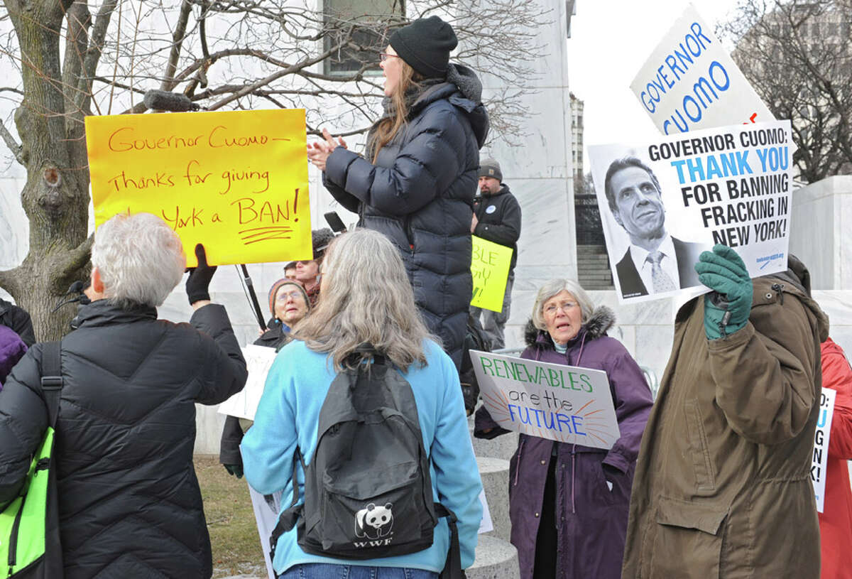 Protestors thank the Governor for banning fracking in New York State at the Empire State Plaza on Wednesday, Jan. 21, 2015 in Albany, N.Y. Governor Andrew Cuomo gave his State of the State address in the Convention Center at the Empire State Plaza. (Lori Van Buren / Times Union)