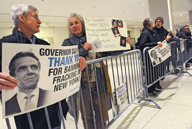 Protestors thanking the Governor for banning fracking in New York are kept behind barriers outside the entrance to Governor Andrew Cuomo's State of the State address event in the Convention Center at the Empire State Plaza on Wednesday, Jan. 21, 2015 in Albany, N.Y. (Lori Van Buren / Times Union) Photo: Lori Van Buren, Albany Times Union / 00030240A