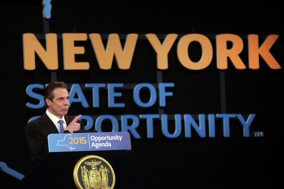 Gov. Andrew Cuomo delivers his 2015 State of the State address, in Albany, N.Y., Jan. 21, 2015. In a speech that doubled as a yearly budget outline, Cuomo called on New York lawmakers to control taxes and spending while simultaneously addressing income inequality, educational reforms and upstate fiscal woes. (Nathaniel Brooks/The New York Times) ORG XMIT: XNYT43