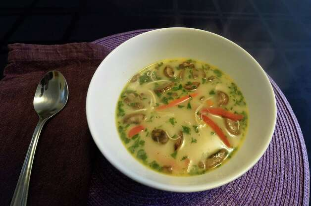 Thai chicken vegetable soup prepared from a box by Carrie Bernardi Monday afternoon, Jan. 19, 2015, in Slingerlands, N.Y.     (Skip Dickstein/Times Union) Photo: SKIP DICKSTEIN / 00030243A