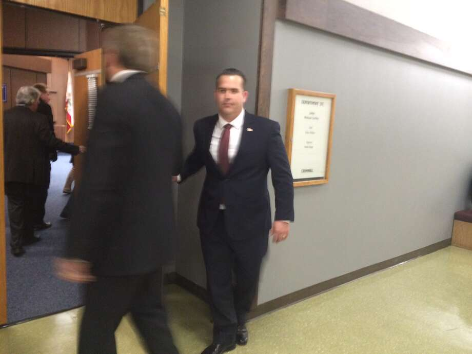 Former Pinole police Cmdr. Matthew Messier arrives at Hayward courtroom for his sentencing on Jan. 21, 2015. Photo: Henry K. Lee / ONLINE_YES
