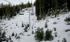 Boulders are exposed below the Grand View chair lift at the Sierra at Tahoe Ski Resort near Echo Summit on Wednesday.