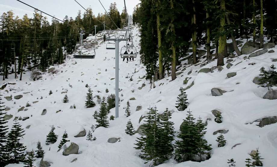 Boulders are exposed below the Grand View chair lift at the Sierra at Tahoe Ski Resort near Echo Summit on Wednesday. Photo: Michael Macor / The Chronicle / ONLINE_YES