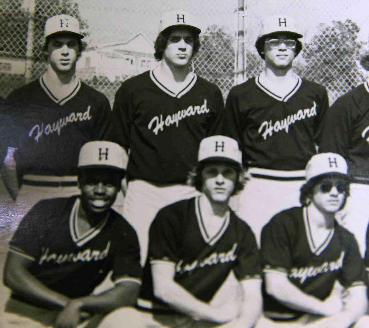 New Raiders coach Jack Del Rio (top, center) is seen in a baseball team photo during his days at Hayward High School.