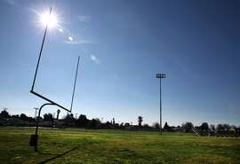 Sunset Field, where new Raiders coach Jack Del Rio played football games for the Hayward High Farmers, is seen on Wednesday.