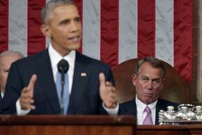 U.S. Speaker of the House John Boehner, right, listens as U.S. President Barack Obama delivers the State of the Union address to a joint session of Congress at the Capitol in Washington, D.C., U.S., on Tuesday, Jan. 20, 2015. Obama declared the U.S. economy healed and said the nation now must begin work to close the gap between the well-off and the wanting. Photographer: Mandel Ngan/Pool via Bloomberg *** Local Caption ***  Barack Obama; John Boehner