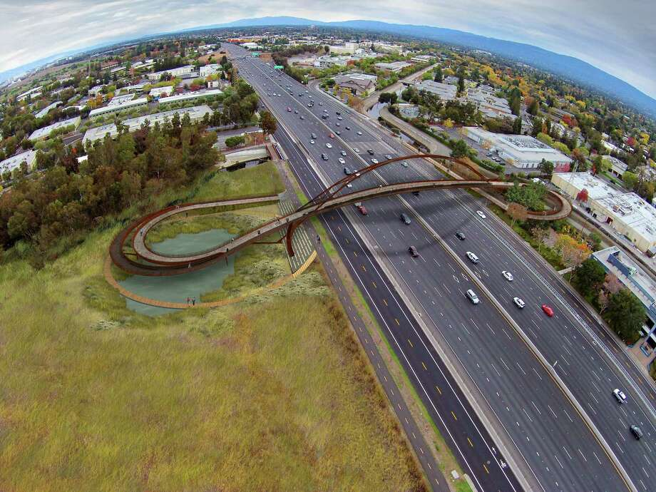 A jury favored this design for a new bridge for pedestrians and bicyclists above Highway 101 in Palo Alto, in a competition among three teams. Bridge design experience was emphasized. Photo: 64North / 64North / ONLINE_YES