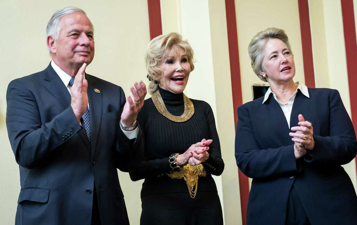 Rep. Gene Green, D-Tex., 29th Dist., left, Houston socialite Joanne Herring, the real life Julia Roberts character in the movie,