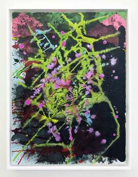 """Left, """"Lodestar"""" (2013, left), ink on Fabriano paper by Andrea Way, and, above, Fireworks"""" (2014), acrylic and silk on canvas by Patrick Brennan."""