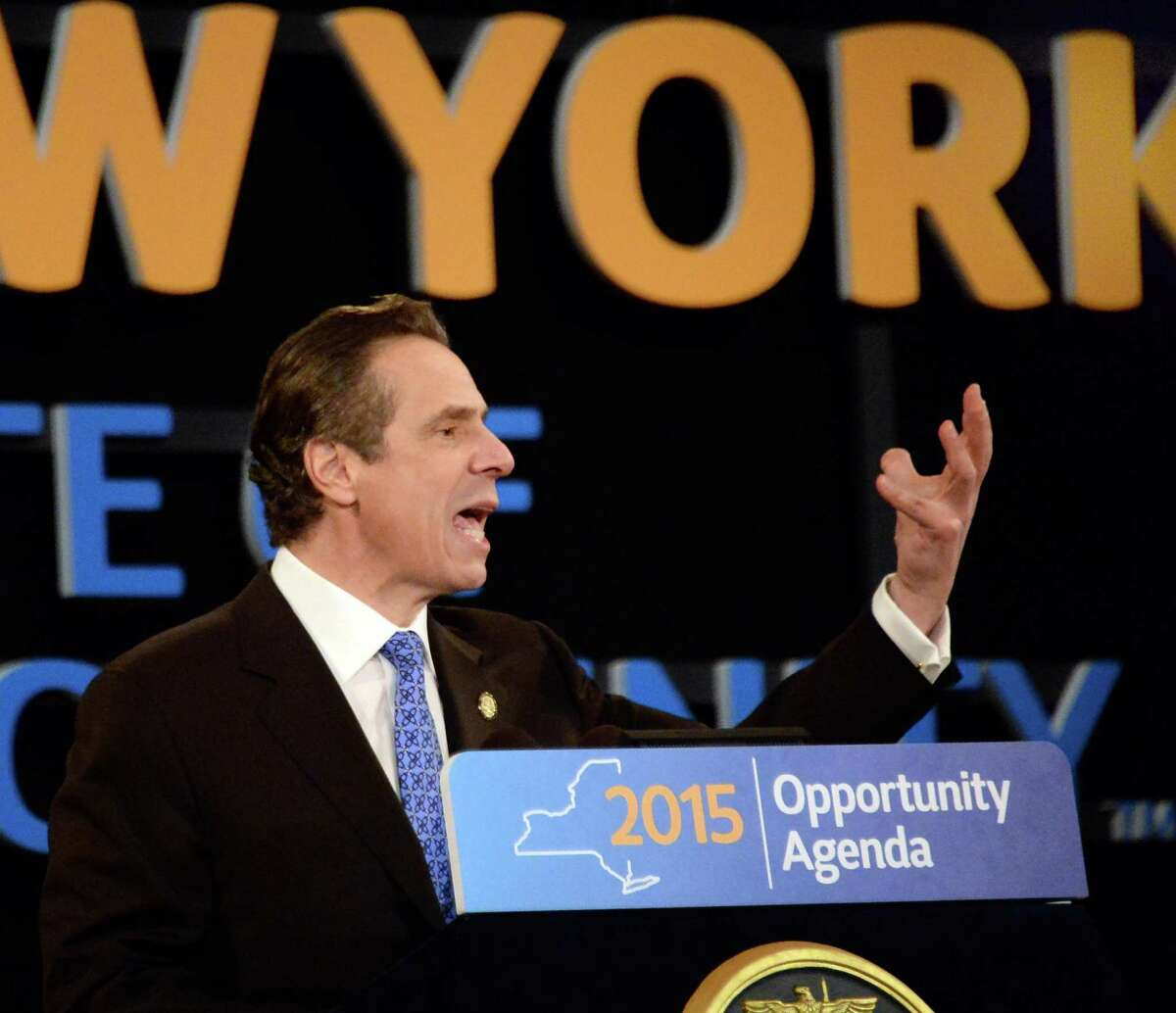 NYS Gov. Andrew Cuomo delivers his State of the State address and budget proposal Wednesday, Jan. 21, 2015, at the Empire State Plaza Convention Center in Albany, N.Y. (John Carl D'Annibale / Times Union)