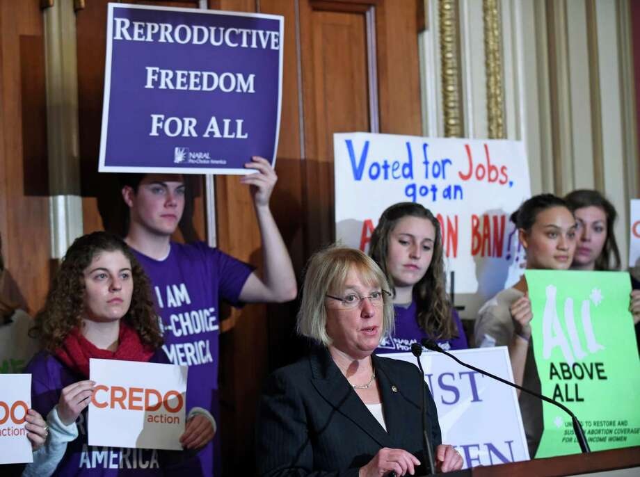 Sen. Patty Murray, D-Wash., speaks during a news conference on Capitol Hill in Washington, Wednesday, Jan. 21, 2015, along with women's health advocates to denounce attacks on women's health and Roe v. Wade in advance of the 42nd anniversary of the landmark Supreme Court decision, which is this Thursday. (AP Photo/Susan Walsh) ORG XMIT: DCSW123 Photo: Susan Walsh / AP