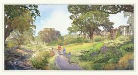 A rendering of Rifle Range Creek in the East Oakland hills after restoration.