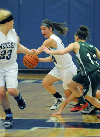 Mekeel Christian Academy's senior guard Macie Holmes gets a steal during their girl's high school basketball game against Middleburgh Lady Knights on Wednesday Jan. 21, 2015 in Scotia N.Y. (Michael P. Farrell/Times Union) Photo: Michael P. Farrell / 00030267A
