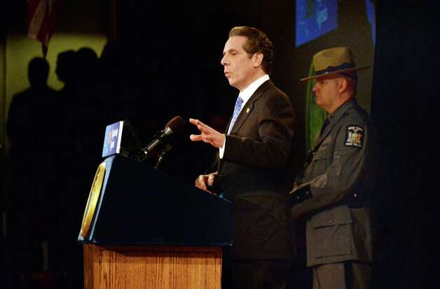 Gov. Andrew Cuomo delivers his State of the State address and budget proposal Wednesday, Jan. 21, 2015, at the Empire State Plaza Convention Center in Albany, N.Y. (John Carl D'Annibale / Times Union) Photo: John Carl D'Annibale / 00030240B