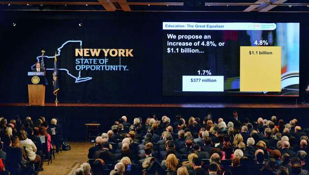 NYS Gov. Andrew Cuomo delivers his State of the State address and budget proposal Wednesday, Jan. 21, 2015, at the Empire State Plaza Convention Center in Albany, N.Y. (John Carl D'Annibale / Times Union) Photo: John Carl D'Annibale / 00030240B