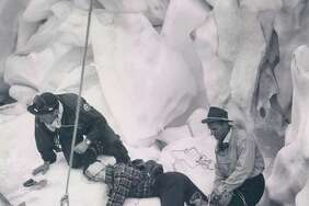 A Glacier Rescue is practiced by, from left, Kurt Beam, Jim Slauson and Dee Molenaar. They are in a crevasse on Nisqually Glacier, Mount Rainier.