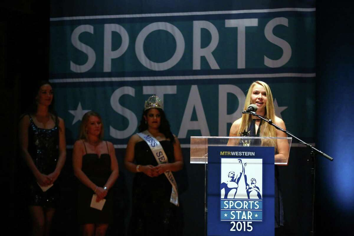 Seattle University soccer player Stephanie Verdoia accepts the Female Sports Star of the Year Award during the annual Sports Star of the Year Awards at Benaroya Hall on Wednesday, Jan. 21, 2015. The annual event honors one female and male athlete and recognizes others in the athletic community.