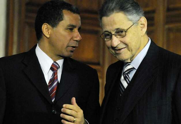Gov. David Paterson and Speaker of the Assembly Sheldon Silver speak before a leaders meeting at the Capitol in AlbanyNew York 6/16/2010.( Michael P. Farrell / Times Union ) ORG XMIT: MER2015012207491362 Photo: MICHAEL P. FARRELL / 00009186A