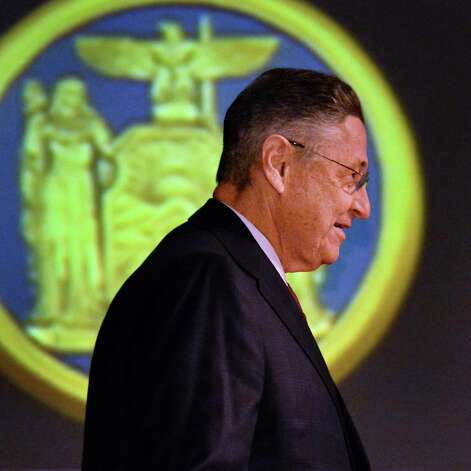 NYS Assembly Speaker Sheldon Silver during the State of the State address and budget proposal at the Empire State Plaza Convention Center Wednesday January 21, 2015 in Albany, NY.   (John Carl D'Annibale / Times Union) ORG XMIT: MER2015012207343082 Photo: John Carl D'Annibale / 00030240B