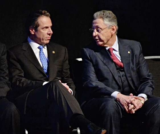NYS Gov. Andrew Cuomo, left, and NYS Assembly Speaker Sheldon Silver during the State of the State address and budget proposal at the Empire State Plaza Convention Center Wednesday January 21, 2015 in Albany, NY.   (John Carl D'Annibale / Times Union) ORG XMIT: MER2015012208073587 Photo: John Carl D'Annibale / 00030240B
