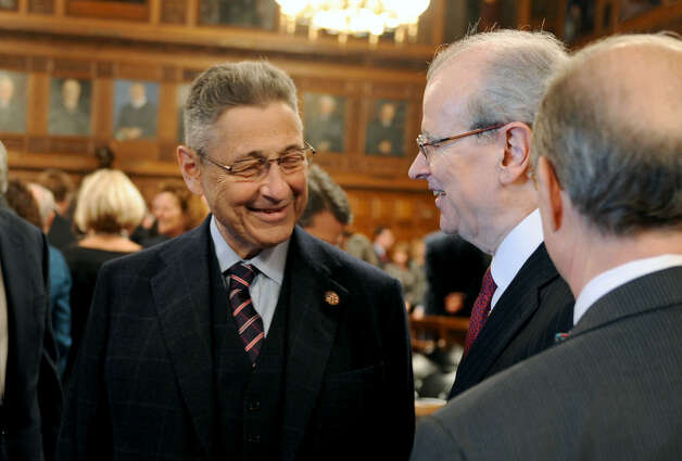 Assembly Speaker Sheldon Silver, left, talks to Chief Judge Jonathan Lippman after Lippman issued the 2013 State of the Judiciary Address at Court of Appeals Hall on Tuesday Feb. 5, 2013 in Albany, N.Y. (Lori Van Buren / Times Union) ORG XMIT: MER2015012207583510 Photo: Lori Van Buren / 00021040A
