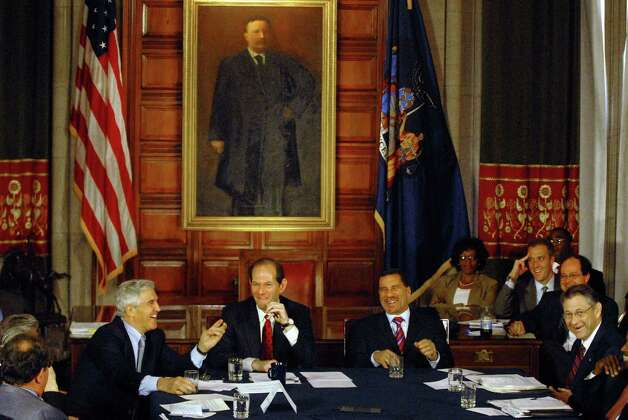 TIMES UNION STAFF PHOTO--MICHAEL P. FARRELL--(left to right) Senate Majority Leader Joseph Bruno, Gov. Eliot Spitzer , Lt. Gov. David Patterson and Assembly Speaker Sheldon Silver enjoy each others company during a leaders meeting focus on government reform  at the Capitol in Albany, New York 6/14/2007. ORG XMIT: MER2015012208553481 Photo: MICHAEL P. FARRELL / ALBANY TIMES UNION