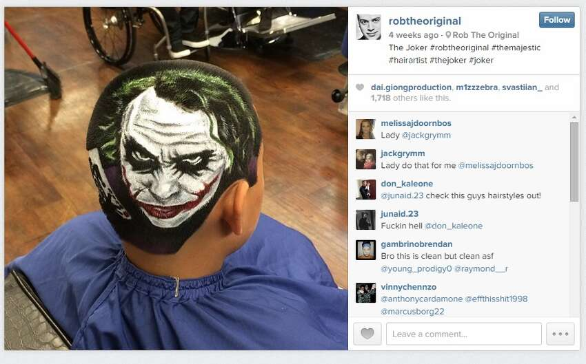 Rob Ferrel shaved a portrait of The Joker into this customer's head.
