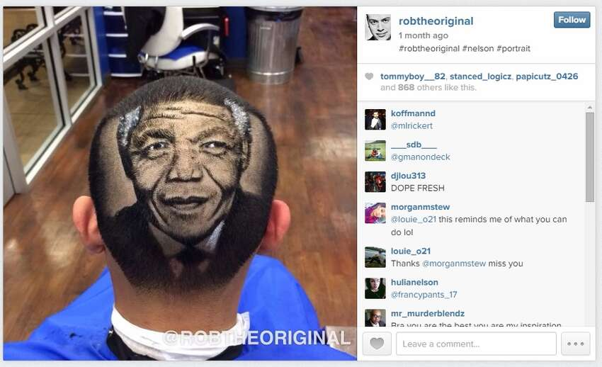Rob Ferrel shaved a portrait of Nelson Mandela into this customer's head.