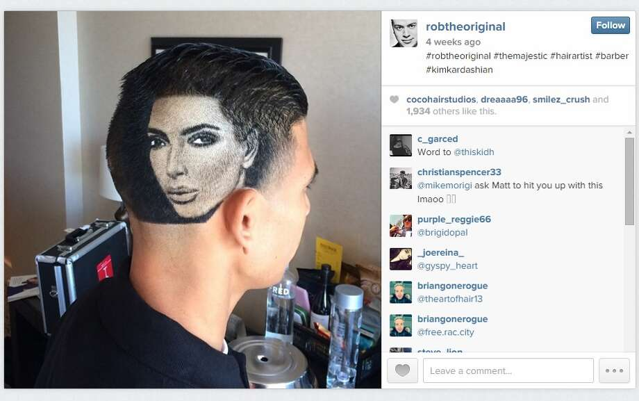 Rob Ferrel shaved a portrait of Kim Kardashian into this customer's head. Photo: Instagram