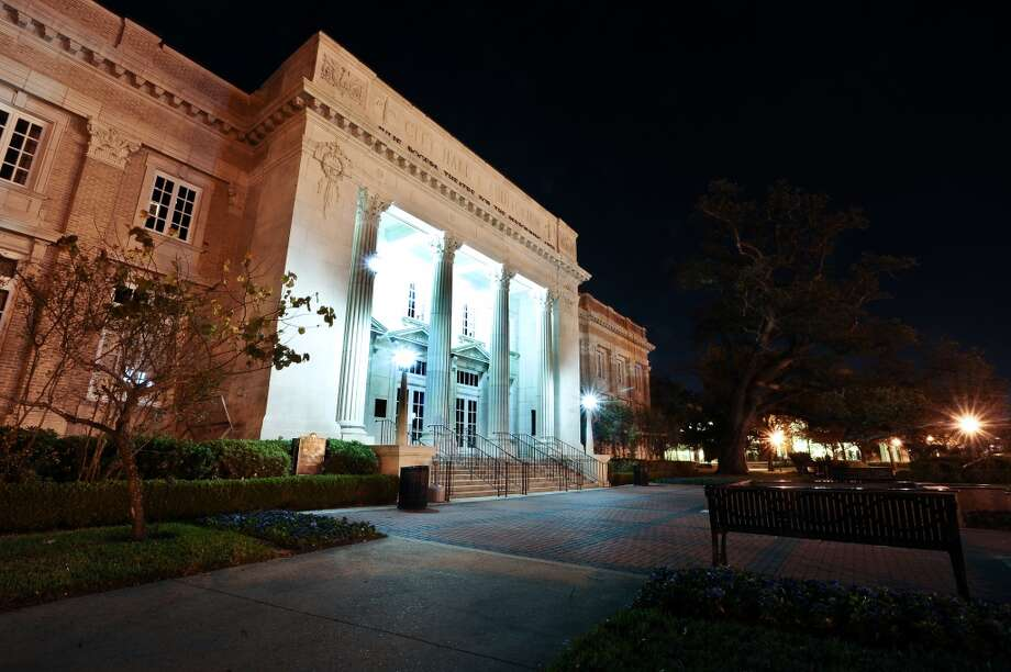 The Classical Revival structure was build to house city offices and a 2,200-seat auditorium.  In the early 1980s, the building was renovated and became the Julie Rogers Theatre for the Performing Arts.  The auditorium now seats 1,700 and is home to national and regional touring acts, community rentals, and the Symphony of Southeast Texas.  The Julie Rogers is located 765 Pearl Street. Photo taken: Randy Edwards/The Enterprise