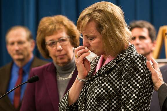 """Brittany Maynard's mother, Debbie Ziegler, speaks during a press conference introducing SB 128, """"The End-of-Life Options Act"""" at the State Capitol in Sacramento, California, January 21, 2015."""