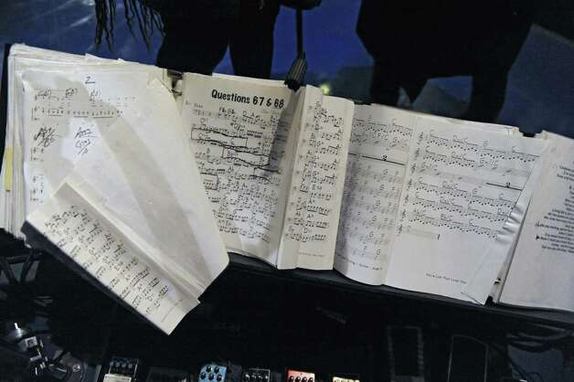 View of binders of sheet music used by Felicia Collins, lead guitarist with the CBS Orchestra with Paul Shaffer, for the Late Show with David Letterman on Wednesday Dec. 17, 2014 in New York, N.Y. Collins grew up in Albany, graduated from Bishop Maginn High School and has had the Letterman gig since 1993. (Lori Van Buren / Times Union) Photo: Lori Van Buren / 00029836A