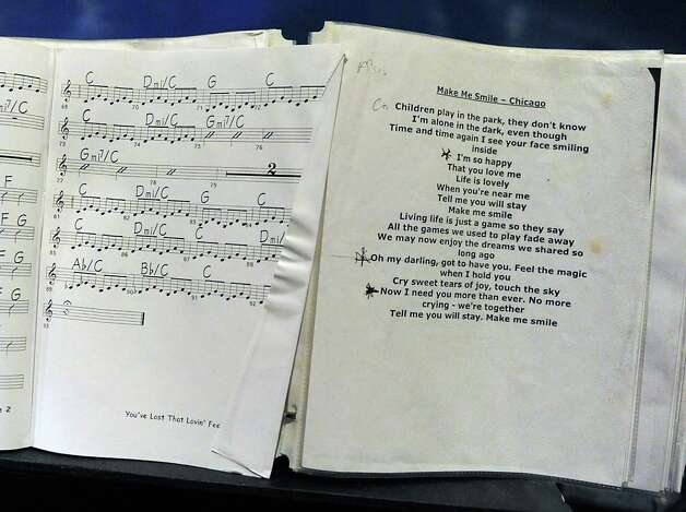 Sheet music and lyrics used by Felicia Collins, lead guitarist with the CBS Orchestra with Paul Shaffer, for the Late Show with David Letterman on Wednesday Dec. 17, 2014 in New York, N.Y. Collins grew up in Albany, graduated from Bishop Maginn High School and has had the Letterman gig since 1993. (Lori Van Buren / Times Union) Photo: Lori Van Buren / 00029836A