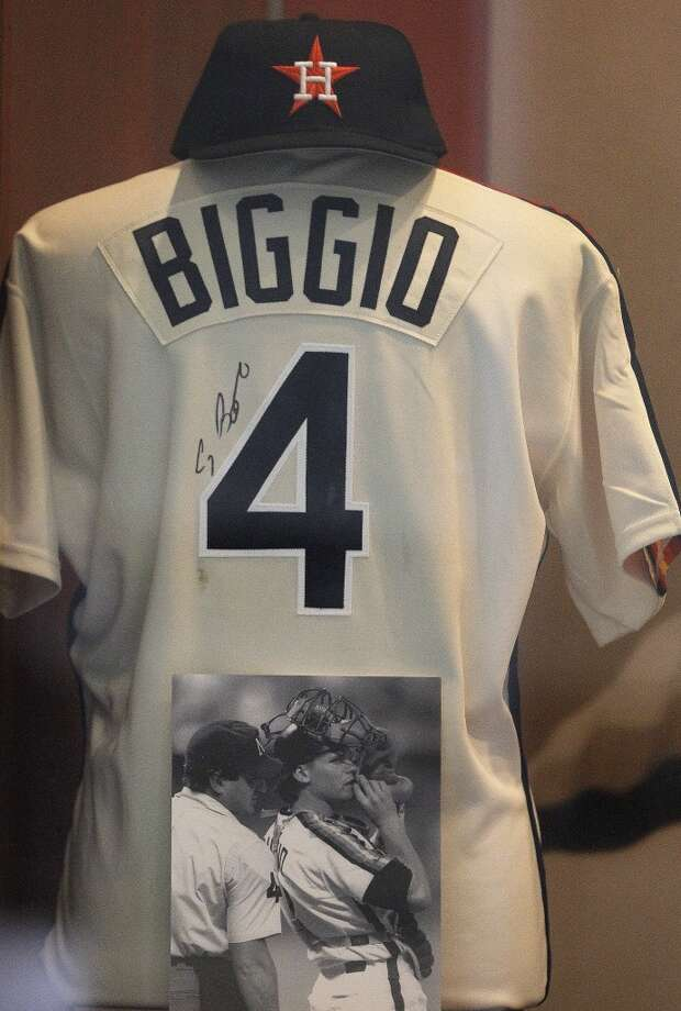 A signed Craig Biggio Houston Astros jersey on display in Union Station at Minute Maid Park after he was elected to the 2015 Baseball Hall of Fame, Wednesday, Jan. 7, 2015, in Houston. ( Karen Warren / Houston Chronicle  ) Photo: Houston Chronicle
