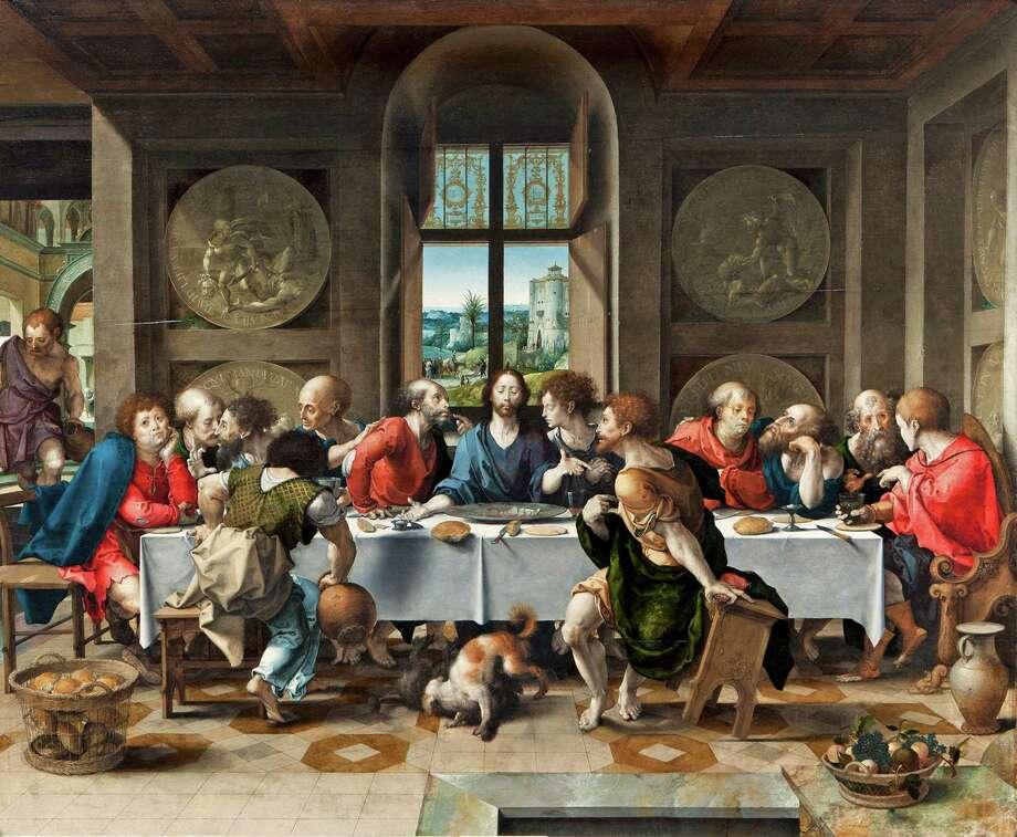 """The Last Supper,""  by Pieter Coecke van Aelst, 1527. Oil on panel. Metropolit Museum of Art curator Maryan Ainsworth used forensic techniques to determine that this work was the original of more than 40 versions. It was used by medieval weavers in making tapestries. The Duke and Duchess of Rutland Collection, Belvoir Castle, Grantham, England. Photo: Contributed Photo / Greenwich Time Contributed"