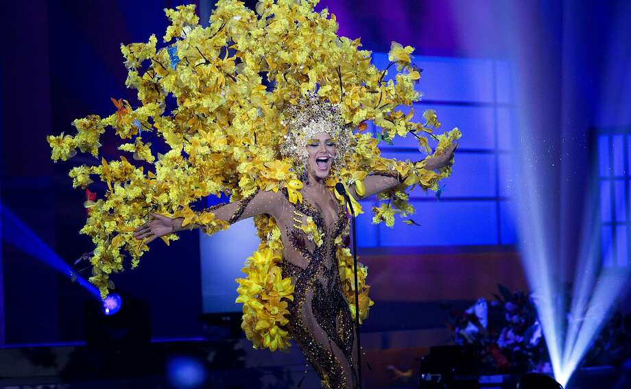 BRANCH DRESSING:Miss Venezuela, Migbelis Castellanos, dons some foliage for the costume show of the Miss Universe Competition in Miami. Photo: J Pat Carter, Associated Press