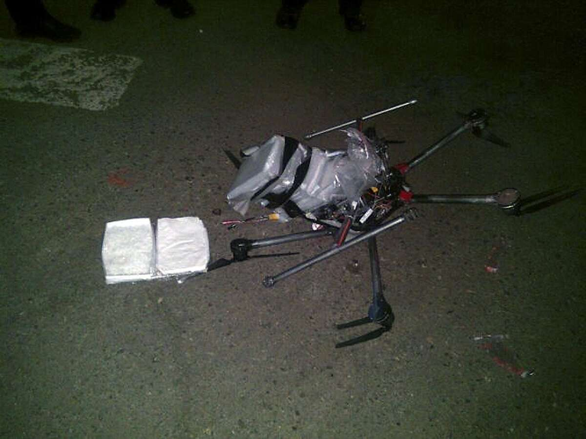 Drug-laden drone crashes near U.S.-Mexico border According to police, six packets of methamphetamine, weighing more than six pounds, were taped to the six-propeller remote-controlled aircraft. Authorities are investigating where the flight originated and who was controlling it.Click here to read more